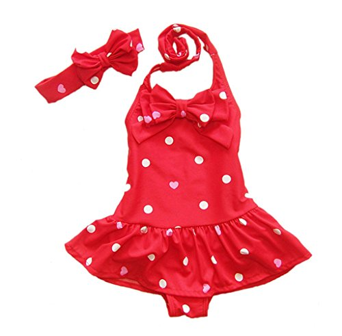 Baby Girls One Piece Swimsuits Beach Wear with Headband (Large, Red)