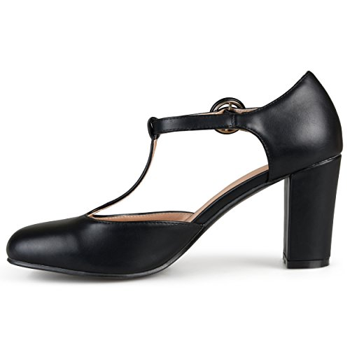 Journee Collectie Dames Ronde Neus T-strap Pumps Zwart