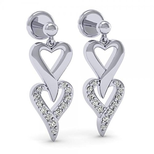 Dazzlingrock Collection 0.25 Carat (ctw) Round White Diamond Ladies Double Heart Dangling Drop Earrings 1/4 CT, Sterling Silver