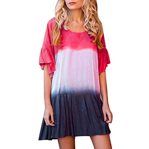 LOVESOO❤ Summer Women's Short Sleeve Tunic Dress V Neck Loose Flowy Swing Shirt Dresses with Color Block Hot Pink ()