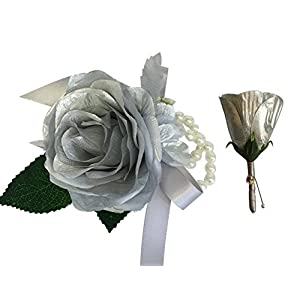 Angel Isabella 2pc Set - Beautiful Artificial Silver Rose Wrist Corsage and Boutonniere 108