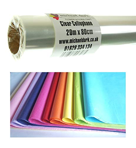 20m x 80cm Clear Cellophane Florist Wrap