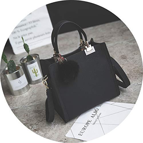 - Handbag Women Casual Tote Bag Female Large Shoulder Messenger Bags Pu Leather Handbag With Fur Ball Bolsa,A,24X22X13Cm