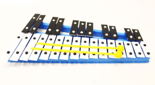 Blue 27 Key Chromatic Glockenspiel Xylophone - Notes Engraved into Metal Keys
