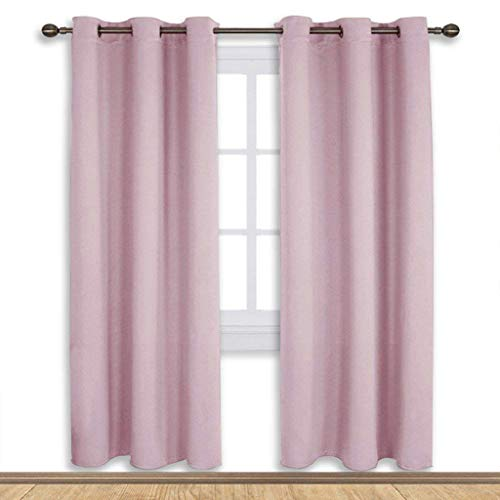 NICETOWN Blackout Curtain Panels for Girls Room, Nursery Essential Thermal Insulated Blackout Draperies/Drapes (Baby Pink=Lavender Pink, 1 Pair,42 x 72 Inch)