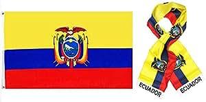 """Al por mayor Combo Set Ecuador país 3x 53'x5' bandera y 8""""x60"""" bufanda resistente a la decoloración doble cosido Premium banderín casa bandera ojales"""