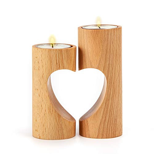 ChasBete Cute Tea Light Holders Decorative, Wood Tealight Candles Holders Set of 2 Unity Heart Pedestal for Home Decor