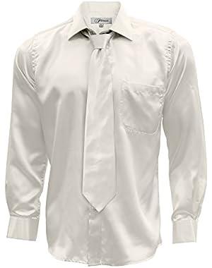 Satin Dress Shirt Necktie & Hanky Set - XS to Big and Tall