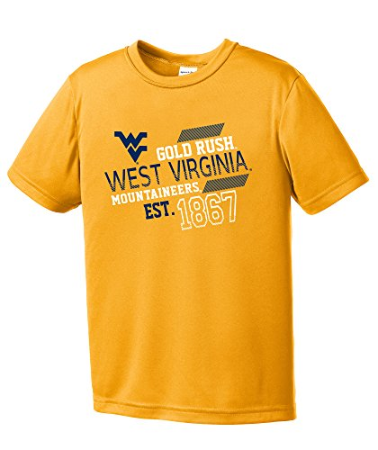 NCAA West Virginia Mountaineers Youth Boys Offsides Short sleeve Polyester Competitor T-Shirt, Youth Small,Gold