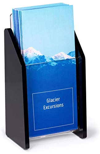 Set of 2 - Tabletop Brochure Holder for 4x9 Pamphlets, Single Pocket - Clear Acrylic Front Panel with Black Sides