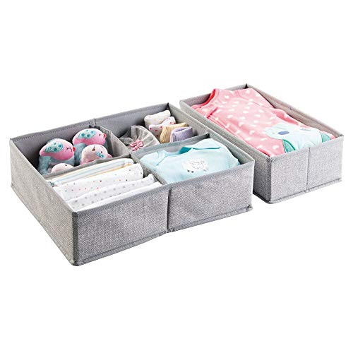 mDesign Soft Fabric Dresser Drawer and Closet Storage Organizer Set for Child/Kids Room, Nursery, Playroom - 2 Pieces, 5 Compartments - Textured Print - Gray ()