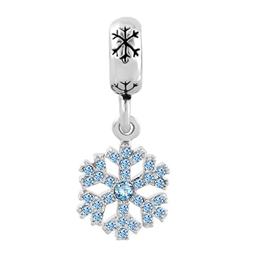 CharmsStory Snowflake Snowman Gold/Silver Plated Charm Dangle Bead (Blue snowflake) For (Plated Snowflake Charm)