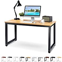 "Office Computer Desk – 55"" Beige Laminated Wooden Particleboard Table and Black Powder Coated Steel Frame - Work or Home – Easy Assembly - Tools and Instructions Included – by Luxxetta"