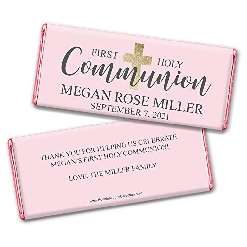 Girl First Communion Party Favors Personalized Wrappers for Hershey's Chocolate Bars (25 Count) - Chocolate Favors Communion