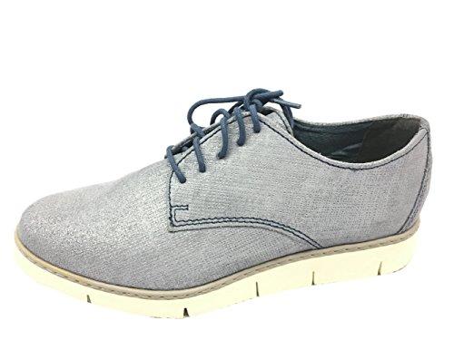 808 2 Para Cordones Tozzi 26 Denim Zapatos Marco De Azul 23605 2 Metallic Mujer HTXRFqS