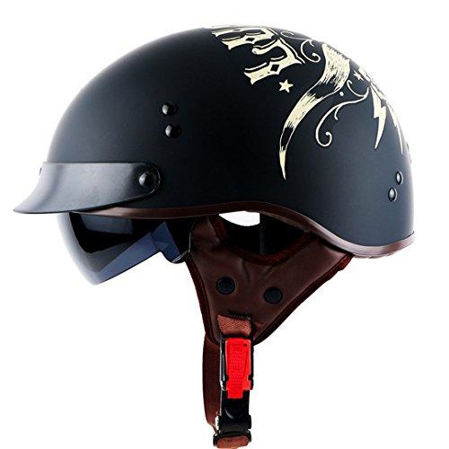 TOUKUI Retro Jet Harley Motorcycle Half Helmets With Built-In Visor Lens Motorcycle RAM L (Novelty Hawk Helmet)