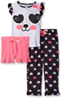 Bunz Kidz Baby Pretty Panda 3 Piece Spring Sleepwear Set, Multi, 12
