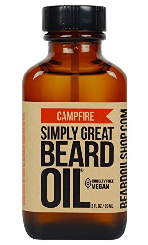 Simply Great Beard Oil – CAMPFIRE Scented Beard Oil – Beard Conditioner 3 Oz Easy Applicator – Natural – Vegan and Cruelty Free Care for Beards – America's Favorite
