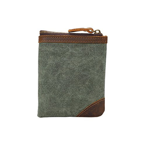 Green Bifold Canvas Vintage Wallet Waxed Short Coral Card Zipper VRIKOO Purse Leather Coin Army Green Holder xwqOI0ndR