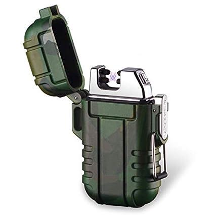SHUNING Mechero USB, Resistente al Viento, Recargable, Resistente al Agua, Doble Arco