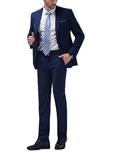 Button Men One Suit (WULFUL Men's Suit One Button Slim Fit 2 Piece Suit for Men Casual/Formal/Wedding Party/Tuxedo)