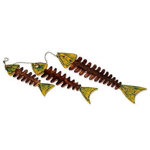 NOVICA Hand Carved Albesia Wood Hanging Wall Accent with Agel Grass Cord, Brown and Yellow 'Fish Bones'