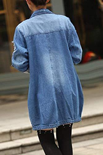 Mujer Chaqueta Enrollada Color Azul De Vaquera Yisaesa Xx Abrigo twfq4Hx
