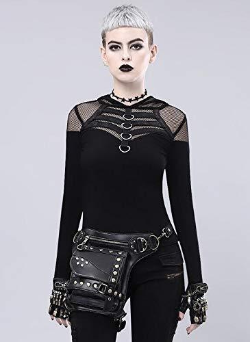 Steampunk para de Talla Negro Hombro ping para Bolsillos Qiu única diseño con negro de Retro Mensajero Mujer qxUzPICw