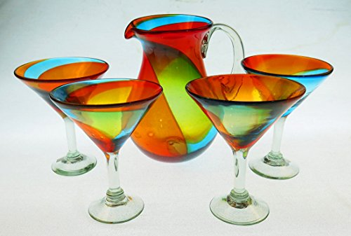- Mexican Martini/Margarita Glasses and Pitcher, Hand Blown, Rainbow colors 10 Oz,Set of 5