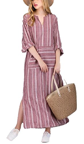 Casual Long Linen Long 2 Women Maxi Loose Vintage Cotton Sleeve Jaycargogo Dress Zw5SIAqn