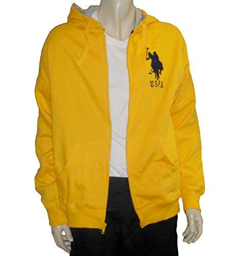 U.S. Polo Assn. Men's Hoody With Big Pony, Egg Yolk Yellow, Large