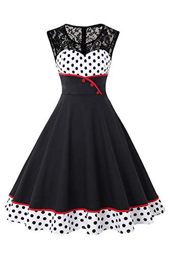 Women's 50s Plus Size Marilyn Monroe Rockabilly Dress for Special Occasion-4XL Black for $<!--$25.99-->