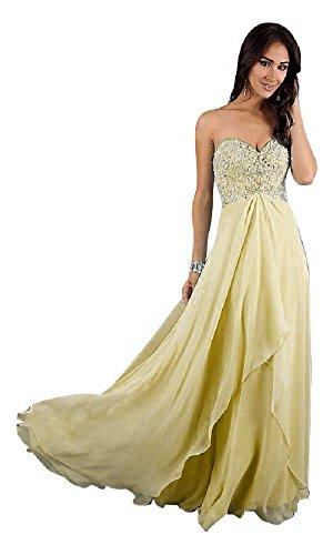 Träger Chiffon Spitze Gelb lange mit Emily Abendkleider Beauty PwqRR5