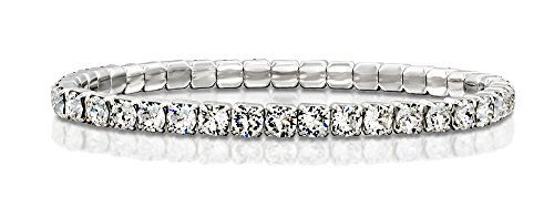 (Rhodium Plated Stretch Tennis Bracelet Made with Original Swarovski Round Crystals,)