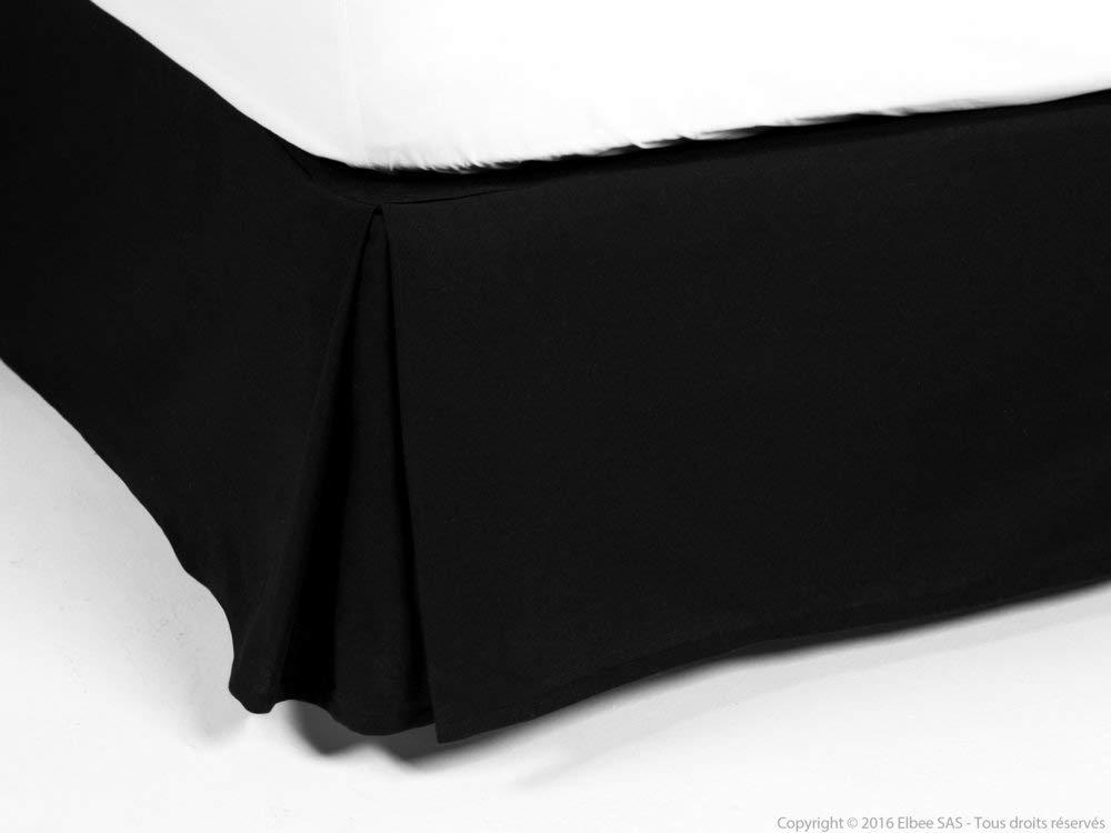 Delamaison Cache-sommier 100% Coton 220gr/m2 Noir 140x190cm ALACASA