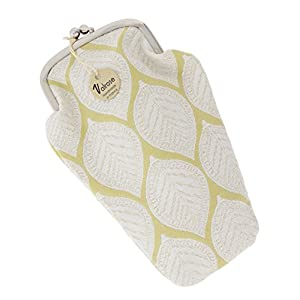 Valrose Women's Soft Tapestry Eyeglass Case, Eyewear Pouch With Clasp, Leaves - Yellow
