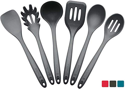 StarPack Premium XL Silicone Kitchen Utensil Set (6 Piece), High Heat Resistant to 600°F, Hygienic One Piece Design, Large Non Stick Spatulas & Serving Utensils - Gray Black