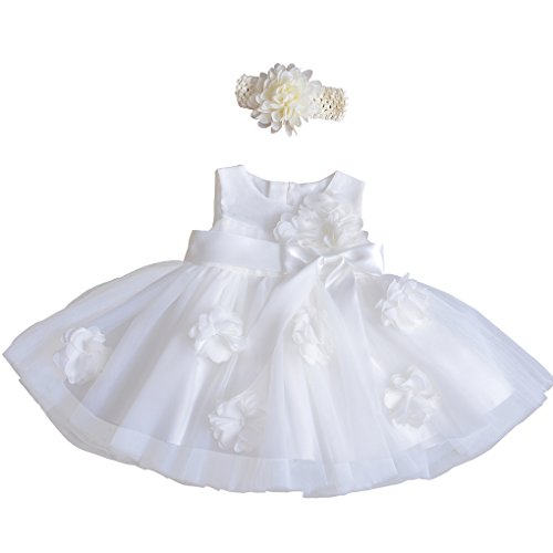 Dress Christening Tulle Satin (Xopzsiay Baby Girls Flowers Satin Bowknot Waist Christening Gown Baptism Formal Tulle Dress with Headband Ivory Size 6M)