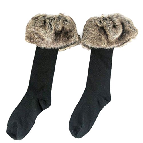 2 Pairs Women's Fashion Faux Fur Socks Leg Warmers Snow Socks Knee High Boot Socks Cuffs Cover Toppers A-Pack ()