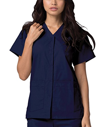 (Adar Universal Double Pocket Snap Front Top (Available in 39 Colors) - 604 - Navy - XL)