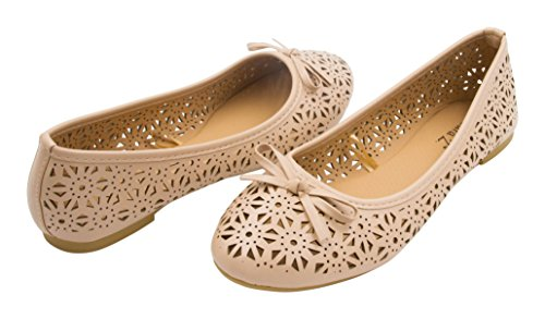 Sara Z Womens Laser Cut Perforated Slip On Ballet Flat with Bow Nude Size 11
