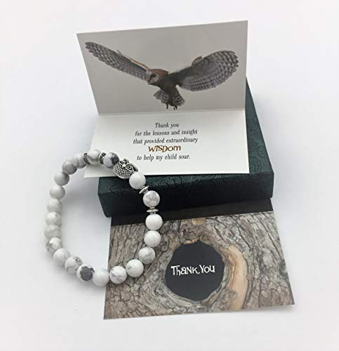 Smiling Wisdom - Owl Stretch Bracelet - Thank You Teacher Appreciation - Mentor Coach Counselor Gift Set - For Her Woman from Parent of Son or Daughter Student - White Grey - Wisdom ()