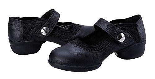 Boots Black Practice ¡ Mesh Womens Jazz staychicfashion Leather Shoes Modern Dance Inset PR8vqz