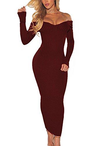 Mujer De Elegante Larga Sólido Off Punto Red Vestido Maxi La Shoulder De Manga Bodycon PqwPfd