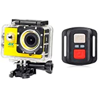 ESCENERY New Full HD 1080P 32G WIFI H16R Action Sports Camera Camcorder Waterproof+Remote+1200 Million High-Definition Wide-Angle Lens. (Yellow)