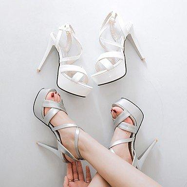 LvYuan Mujer Sandalias Semicuero PU Verano Otoño Paseo Hebilla Tacón Stiletto Blanco Negro Plata Rojo 10 - 12 cms White