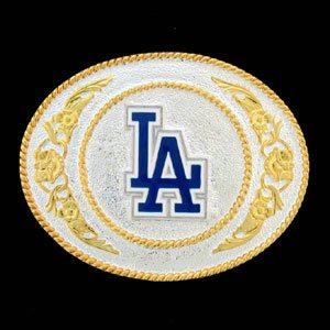 Los Angeles Dodgers Gold and Silver Toned Logo Buckle