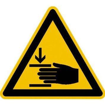 Warnung vor Handverletzungen Warnschild, selbstkl. Folie, Größe 10cm