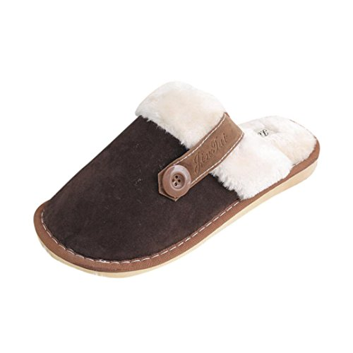 Ama (tm) Heren Dames Koppels Katoen Zacht Warm Indoor Home Slippers Antislip Schoenen Herenbruin