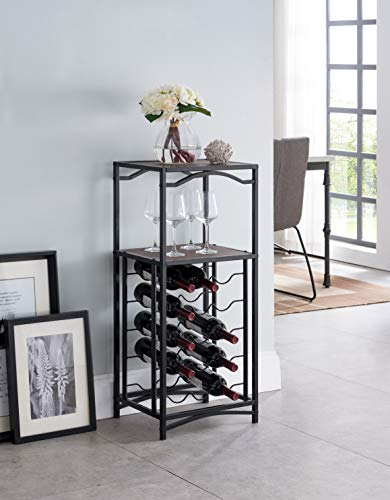 - None Black Metal Finish and Vintage Brown Top with 15 Bottle Holder Wine Organizer Rack with Shelf Kitchen and Wine Glass Holder